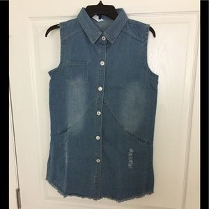 NWT - DENIM LONG BUTTON DOWN VEST WITH POCKETS